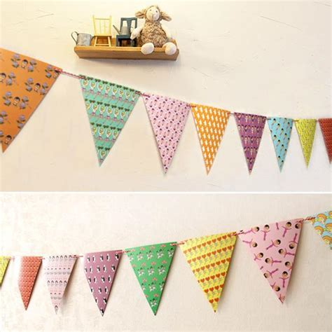 Handmade Supplies - colorful handmade paper flags bunting decorations
