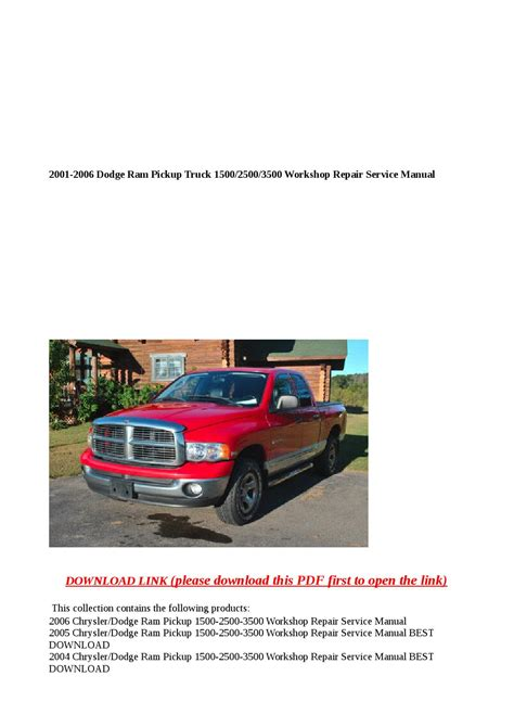 2001 dodge ram factory service repair manual download manuals am 2001 2006 dodge ram pickup truck 1500 2500 3500 workshop repair service manual by abcdeefr issuu