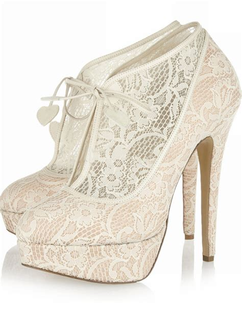 apricot lace ankle length high heel booties for