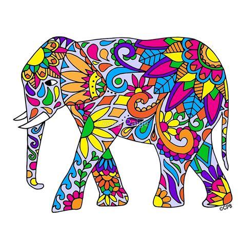 elephants drawing colorful www imgkid the image