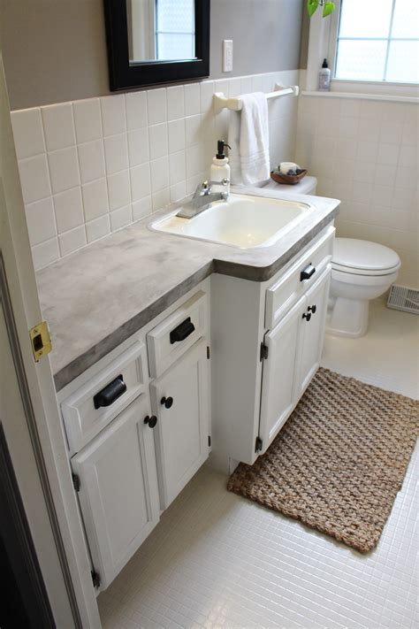 concrete countertops bathroom bathroom makeover diy concrete counters simply chic