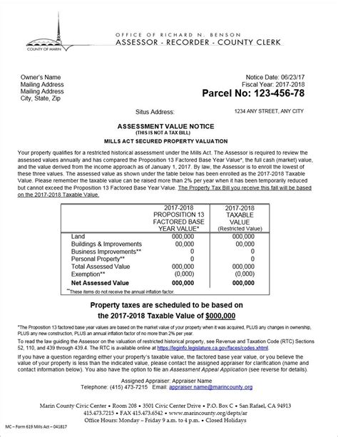 property value notices assessor county of marin