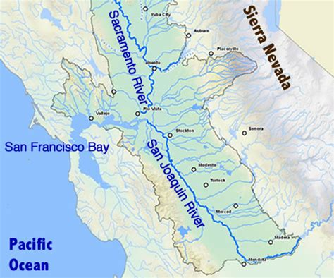california map san joaquin river for california salmon drought and warm water trouble
