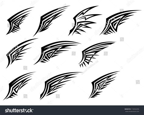 tattoo logo template set black tribal wing tattoos isolated stock vector