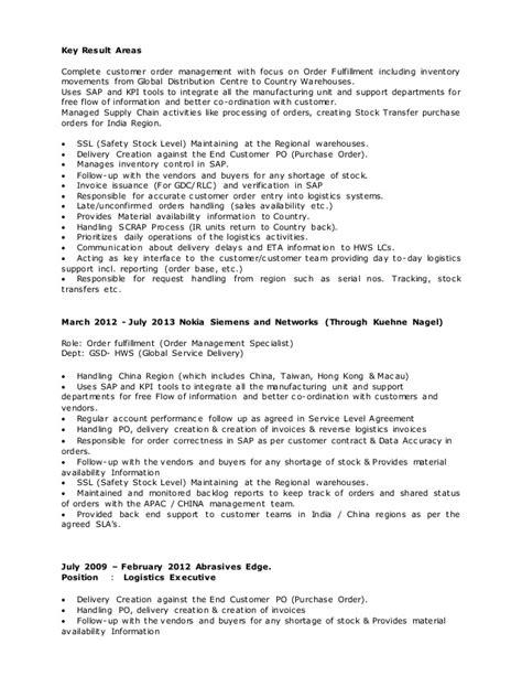 Order Management Resume Sample by Deepak Resume