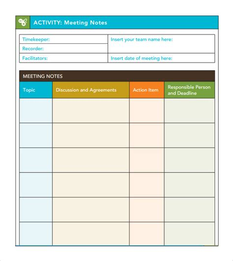 meeting notes template with action items pictures to pin
