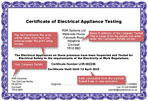 pat testing template free printing a certificate