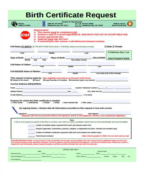 birth certificate letter request 41 sle certificate forms