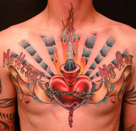 heart tattoos on chest for men sacred tattoos