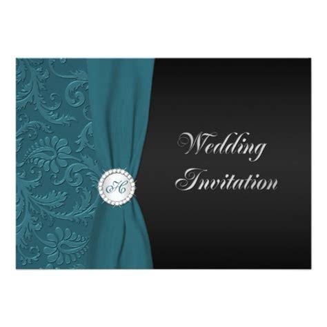 teal and black damask wedding invitations teal and black damask monogram wedding invitation zazzle
