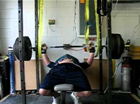 bench press accidents benching 565 with safety straps youtube