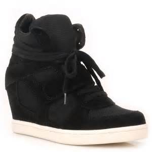 High Top Coolbis Black With Mesh Wedge Hi Top Trainer