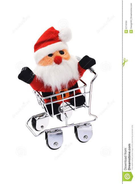 santa claus in shopping cart stock images image 5774164