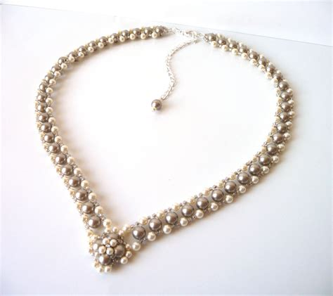 shaped st on jewelry chagne pearl bridal necklace wedding jewelry bridesmaid