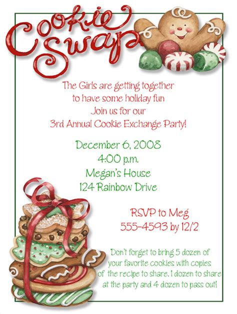 cookie swap holiday invitations