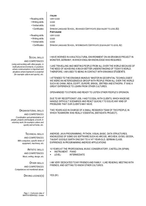 cv exle language language levels on resume curriculum vitae exle language