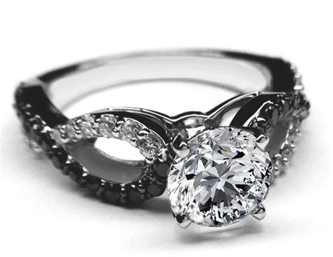 black white engagement ring infinity diamonds