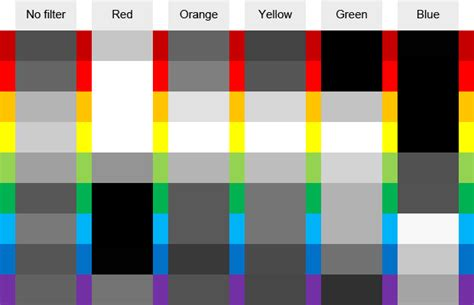 what colour goes with black and white using coloured filters in black and white photography