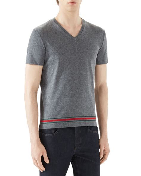 Gucci T Shirt V lyst gucci grey v neck t shirt w wide hem in gray for