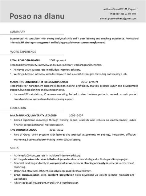format obrazac za cv cv template za posao thehawaiianportal com