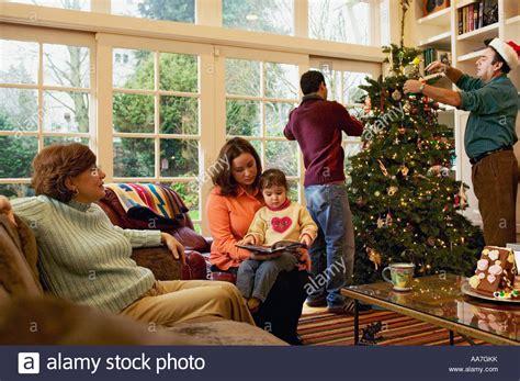 setting upchristms tree tree inside house window stock photos tree inside house window stock