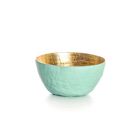 Paper Bowls - mint paper bowl gold leaf bowl mint seafoam green paper
