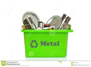 Metal Recycling Green Metal Recycling Bin Isolated On White Stock Photo
