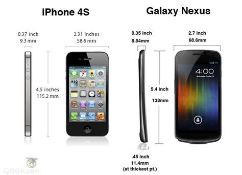 iphone   galaxy nexus   specs compare geekcom