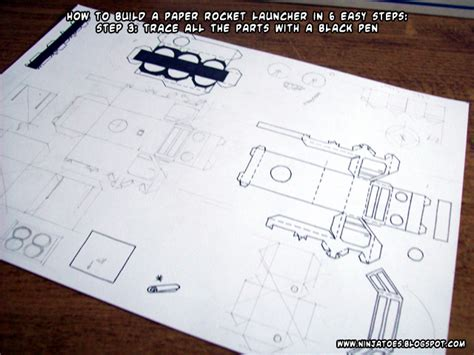 How To Make Paper Rocket Step By Step - paper rocket launcher step 3 by ninjatoespapercraft on