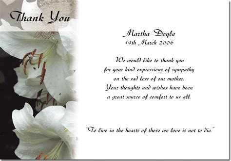 free memorial thank you card template thank you cards just another site