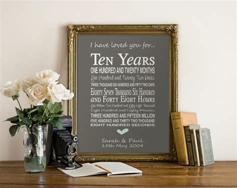 10th anniversary gifts for him 10th anniversary gift personalised by pinkmilkshakedesigns
