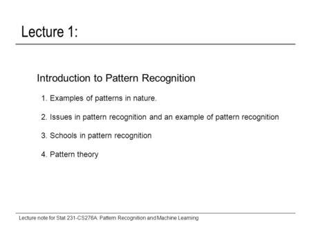 pattern recognition and machine learning bishop lecture note donald geman dept of applied mathematics and statistics