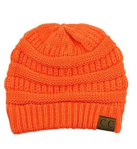 Beanie Hat Orange Knitting Krem neon orange ribbed knit cc beanie hat