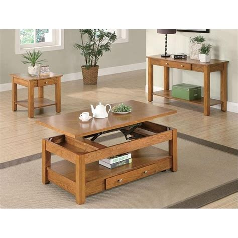coaster living room 3 pack table set 700385 ernies in coaster 3 piece occasional table set in oak 70143x 3pc pkg