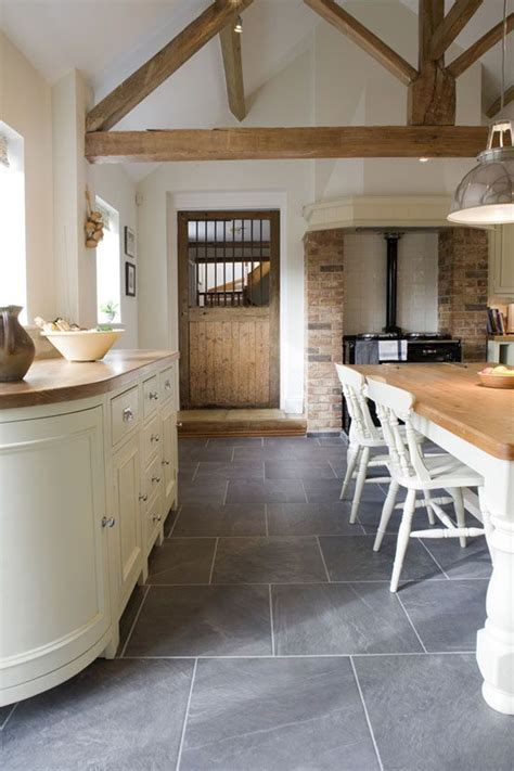 Slate Floor Kitchen Blueish Grey Slate Tiles Use Throughout Entire Floor And Then Amazing Fluffy White