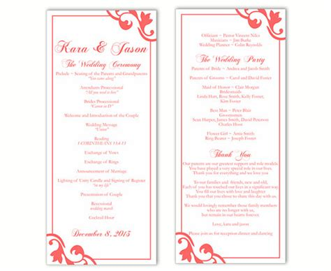 Wedding Program Template Diy Editable Text Word File Download Program Orange Program Red Program Program Template Word