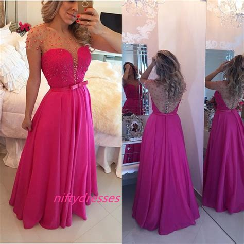Dress Pearl Hotpink charming a line sleeve pink prom dress pearls