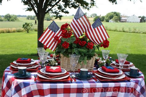 4th of july table the table is set on our small patio overlooking