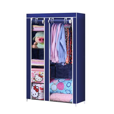 Closet organizer storage rack portable clothes hanger home garment shelf rod cyan in household