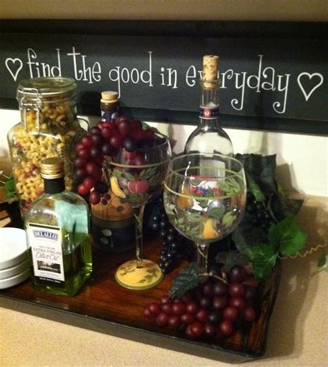 wine decorations for the home tray fake cheese and grapes with wine bottles kitchen