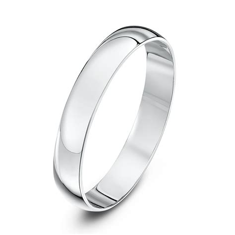 18kt white gold light d 3mm wedding ring