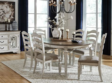 regal pc french cottage antique white brown oval dining