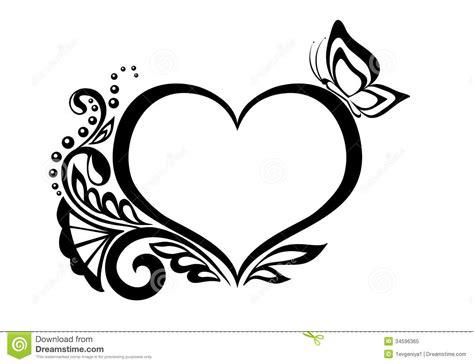 imagenes blanco y negro corazones s 237 mbolo blanco y negro de un coraz 243 n con desi floral foto