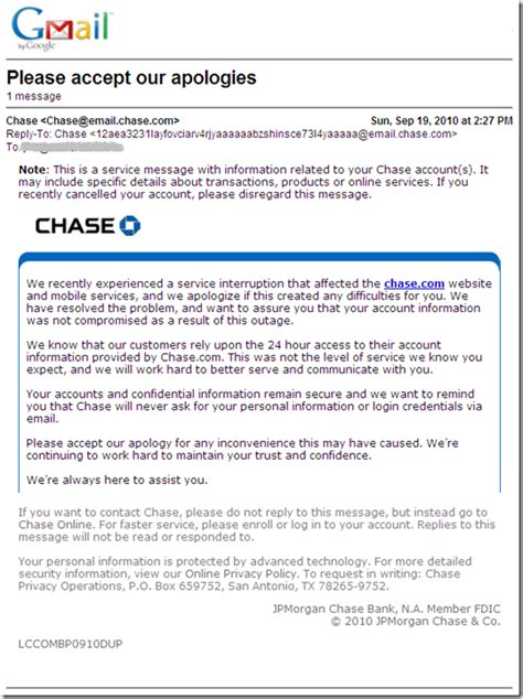 Bank Error Letter To Customer part 2 apologizes for outage in customer email but