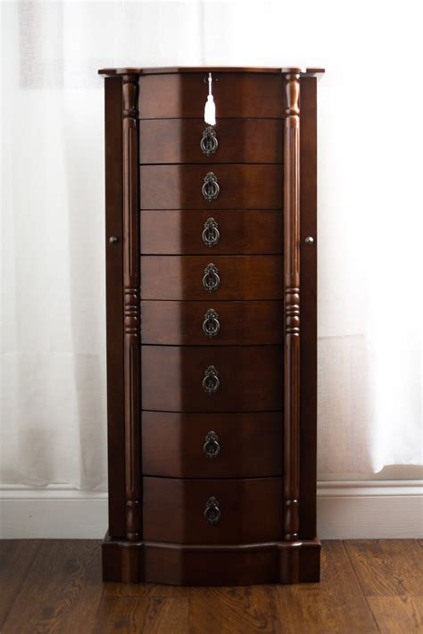 jewelry armoires robyn jewelry armoire with mirror walnut hives and honey