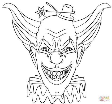 clown coloring pages evil clown coloring page free printable coloring pages