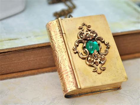 enchanting books enchanted book style brass locket necklace with vintage