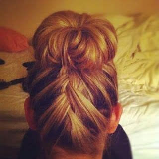 pictures of buns at the nape of the neck french braid top knot flip hair over and french braid