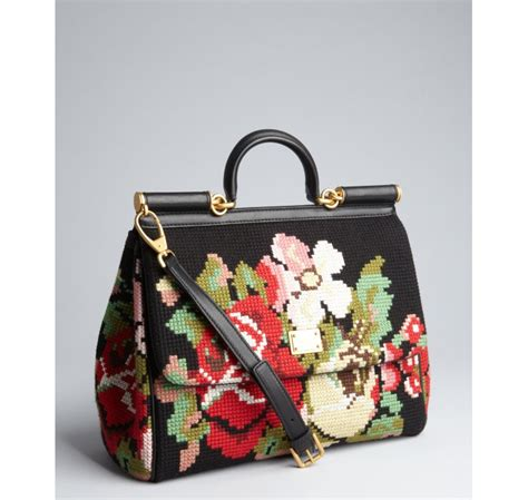 Dolce And Gabbana Leather Convertible Bag dolce gabbana black leather and floral needlepoint