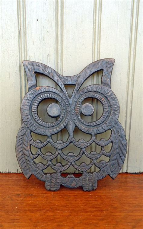 Black Owl Home vintage owl trivet cast iron black metal retro home kitchen decor bird fall owl and
